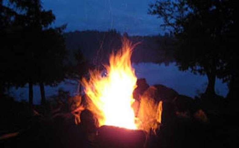 a fire at evening