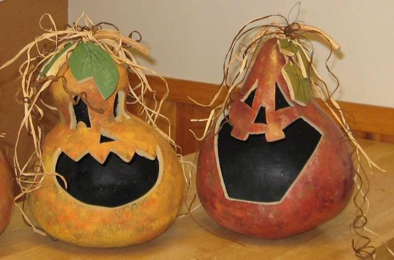 two festive gourds for halloween