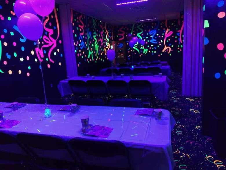 Party Room with Blacklight and Balloons at Rollarama Skating Center