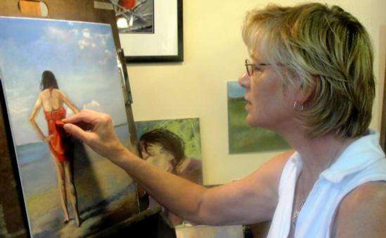 Artist/owner Bev Saunders at work