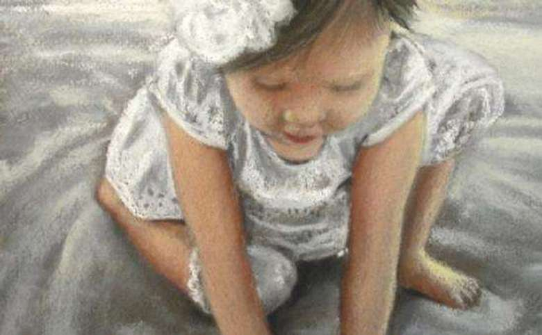 Pastel art of a young girl