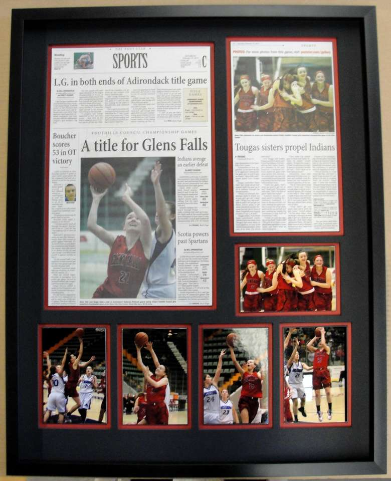 Custom framing of basketball photos and articles