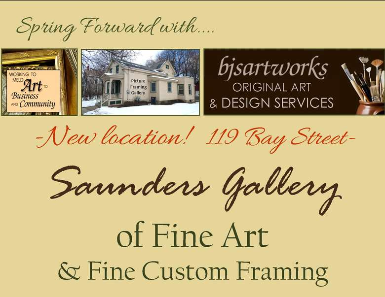Announcement of a new location of Saunders Gallery at 119 Bay St