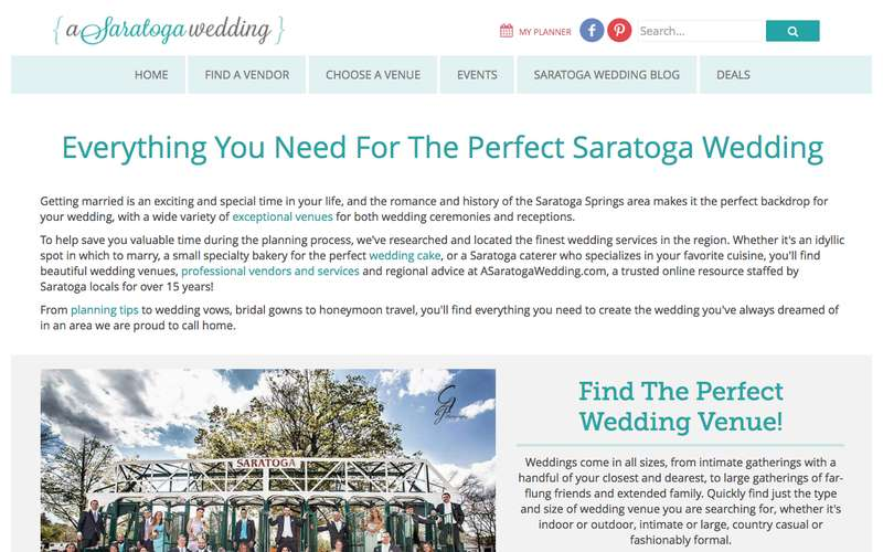 Screenshot of the ASaratogaWedding.com homepage