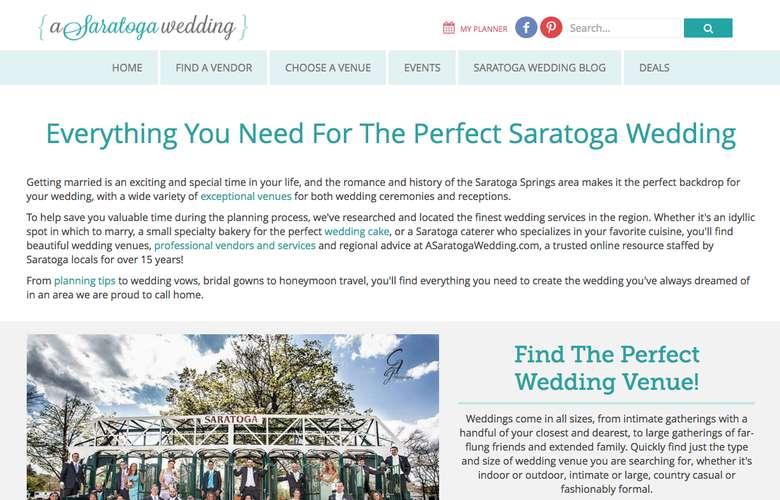 Screenshot of the ASaratogaWedding.com homepage