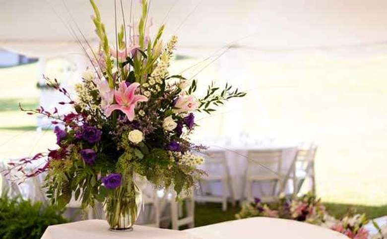 pink and purple centerpiece on a table