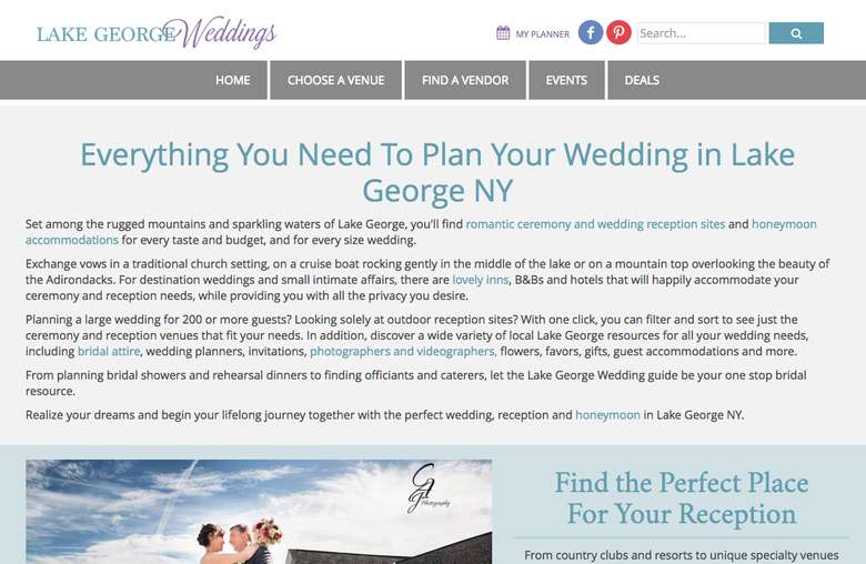 screenshot of the lakegeorgeweddings.com homepage
