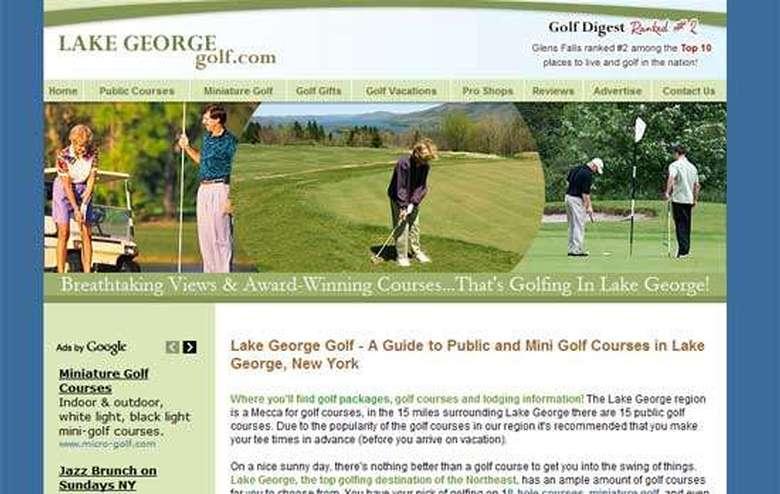screenshot of the lakegeorgegolf.com homepage