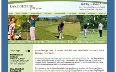 screenshot of the lakegeorgegolf.com homepage