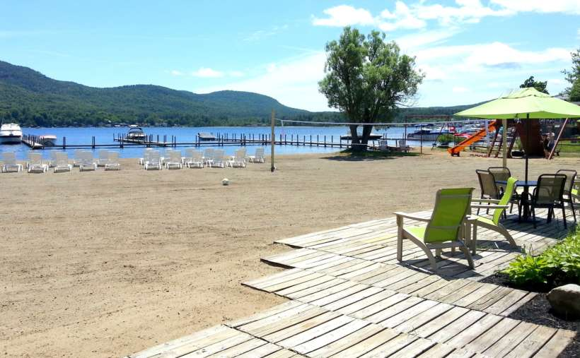 Sandy beach overlooks the Lake