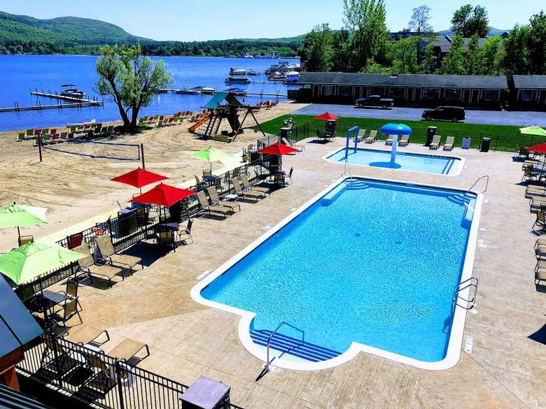 outdoor pool and spray zone overlooking lake george