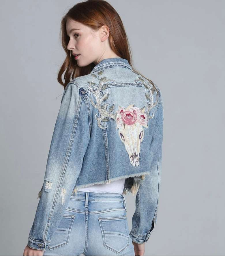 jean jacket with skull and roses