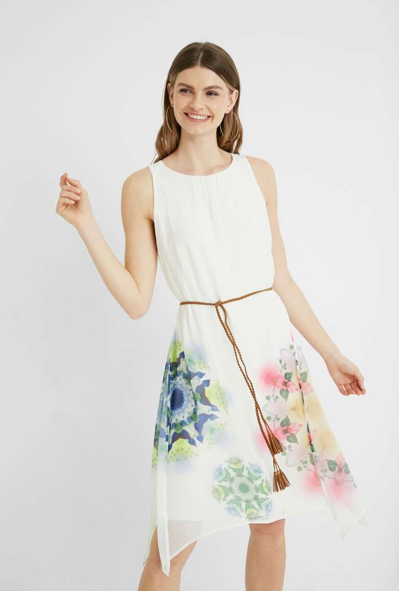 white dress tied with brown belt