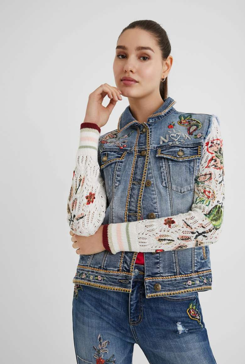 jean vest with floral sweater