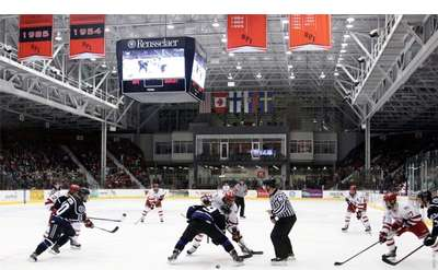 Heated Competition at the RPI Engineers' Ice Hockey Arena