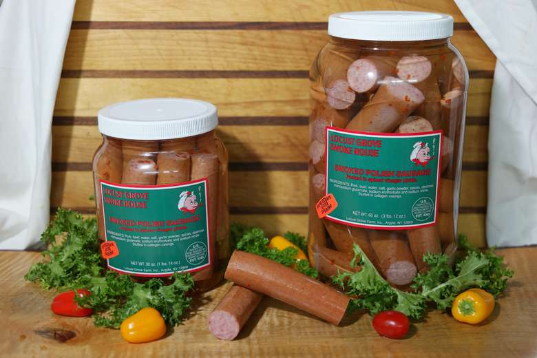 two jars of smoked sausages