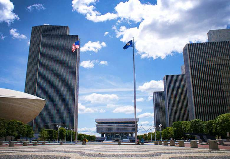 a section of the Empire State Plaza in Albany