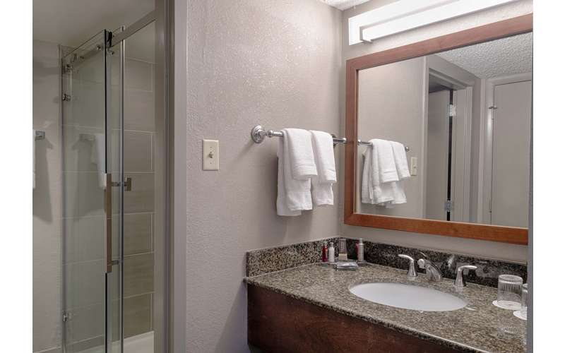 a hotel room bathroom with a sink and shower