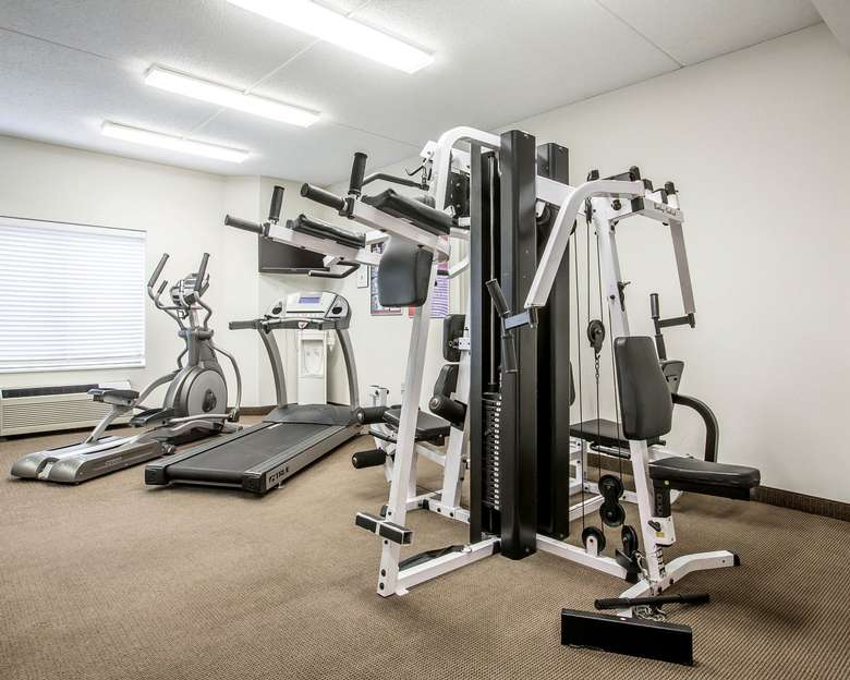 hotel fitness center with cardio and strength equipment