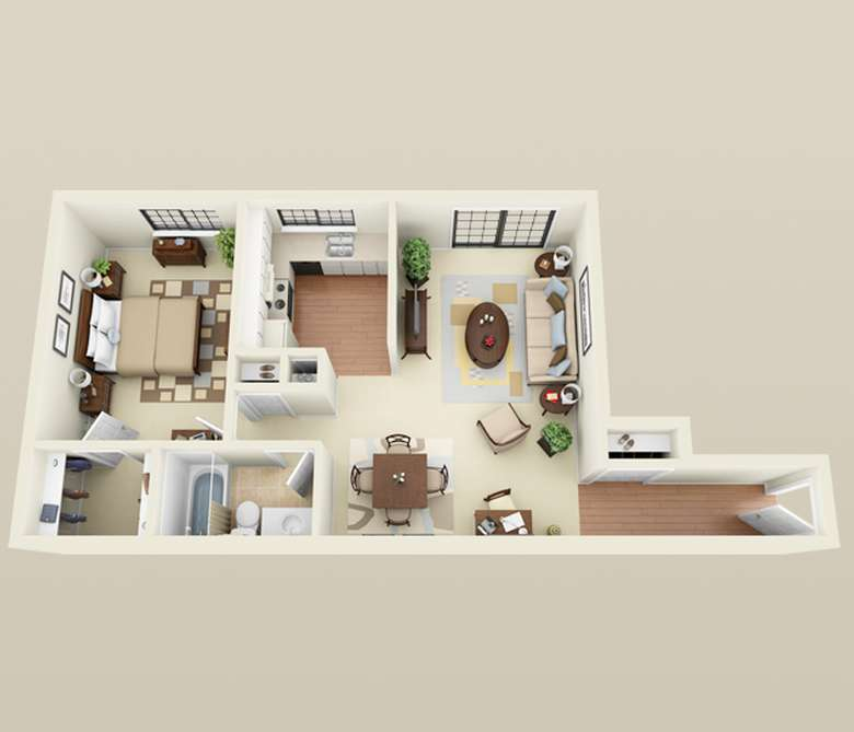 sketch on an apartment layout with one bedroom