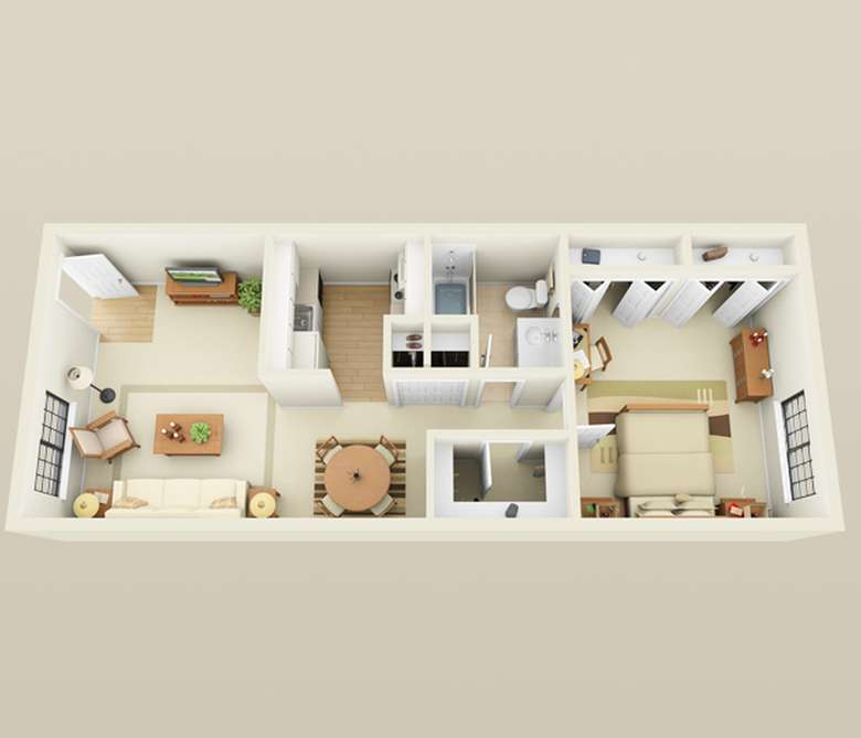 one bedroom apartment floor plan that is a rectangle