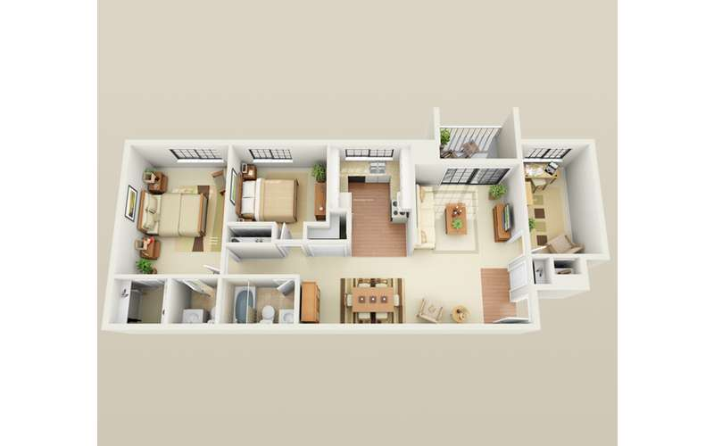 typical 2 bed floor plan ...  with optional Den or 1/2 bath