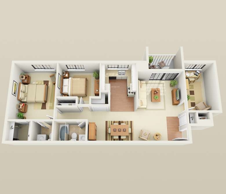 two bedroom with an outdoor porch floor plan