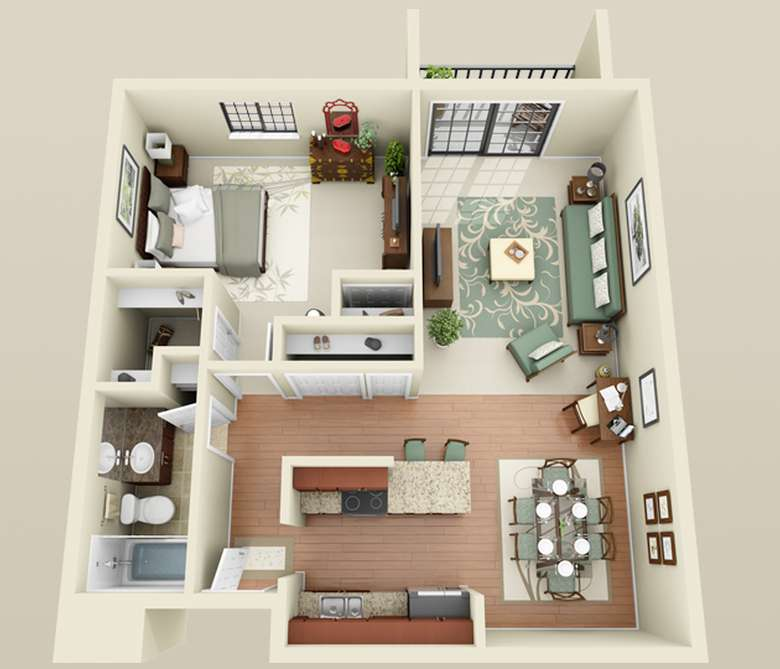 sketch on a large apartment layout with one bedroom