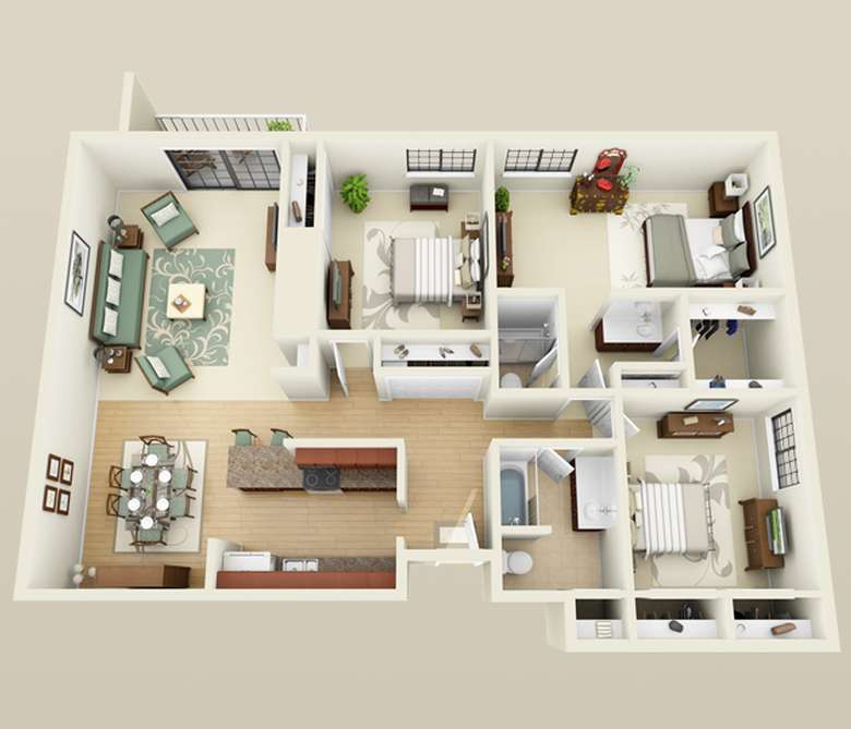 sketch on an apartment layout with three bedrooms