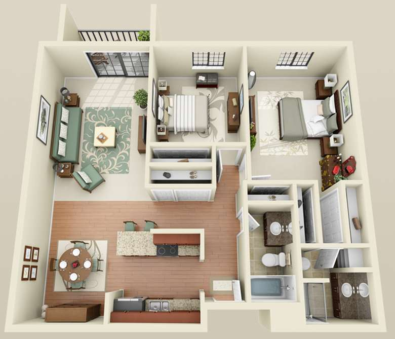 sketch on an apartment layout with two bedrooms