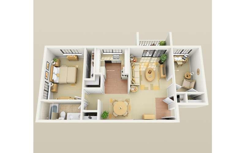 1 bed  floor plan with optinal den