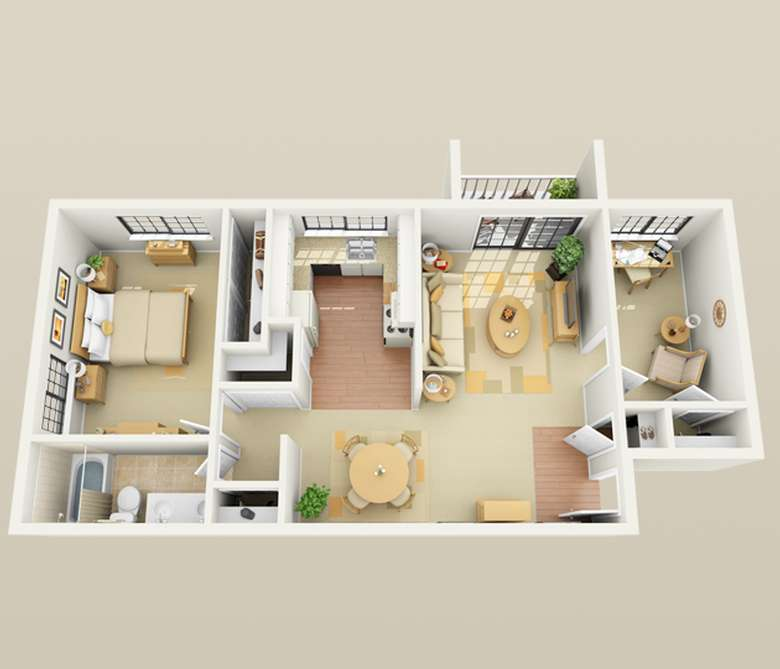 1 bedroom floor plan with optional den and porch