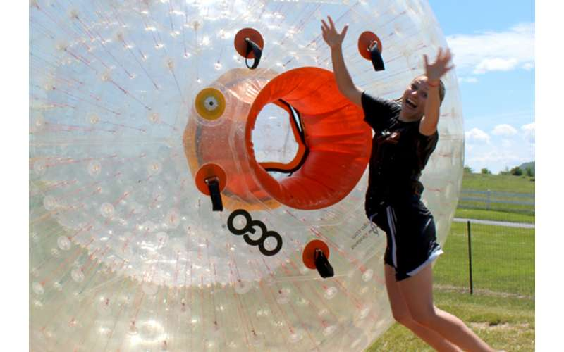 Get ready to travel down the hillside in the H2OGO Ball