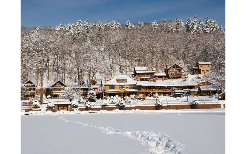 the resort in the winter, covered ins now