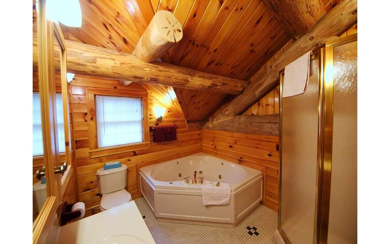 a fancy Adirondack-style bathroom with a jacuzzi tub