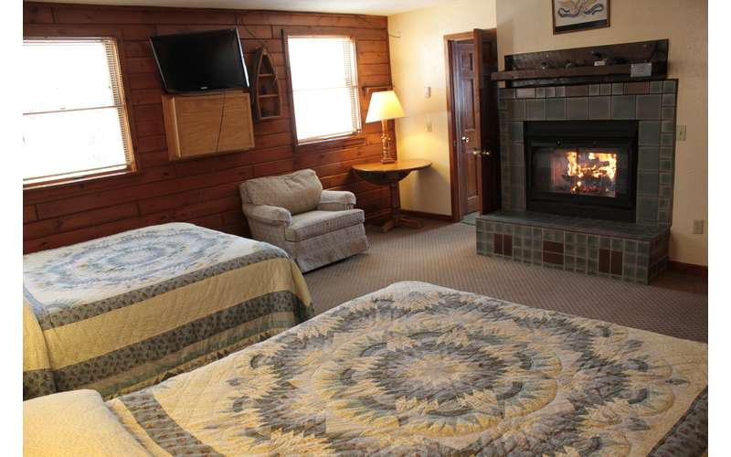 a fireplace in a bedroom with two beds