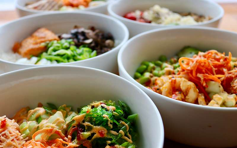 lunch bowls with seafood and veggies