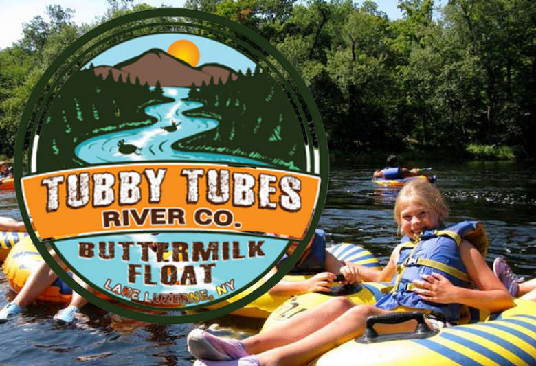 Tubby Tubes Logo over river tubing pic