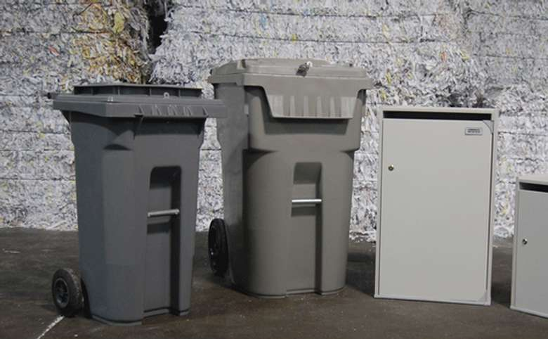 three different types of paper collection bins