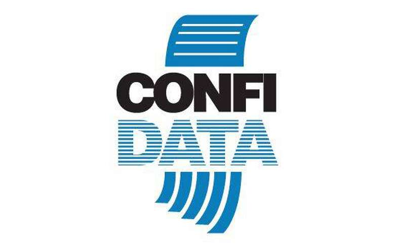 confidata logo shows piece of paper entering the words confidata and coming out the other side shredded