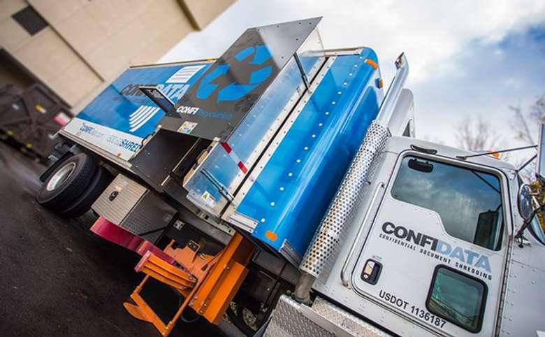 up close view of confidata truck equipment