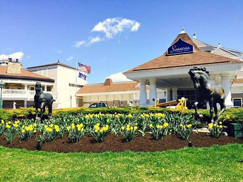 exterior of saratoga casino hotel with yellow flowers in the front