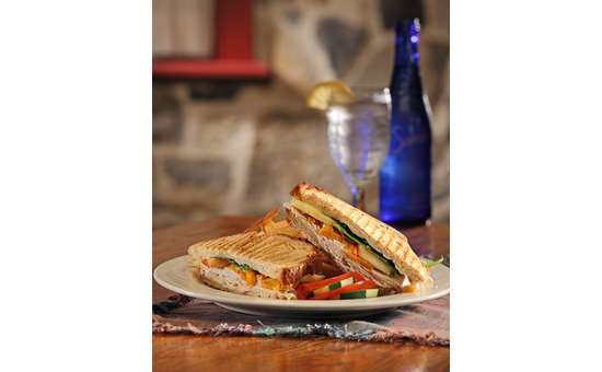 grilled turkey panini with vegetables