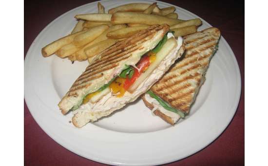 grilled panini with fries on a plate