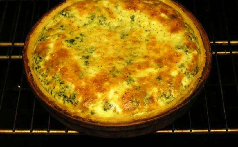 what looks like a quiche in an oven