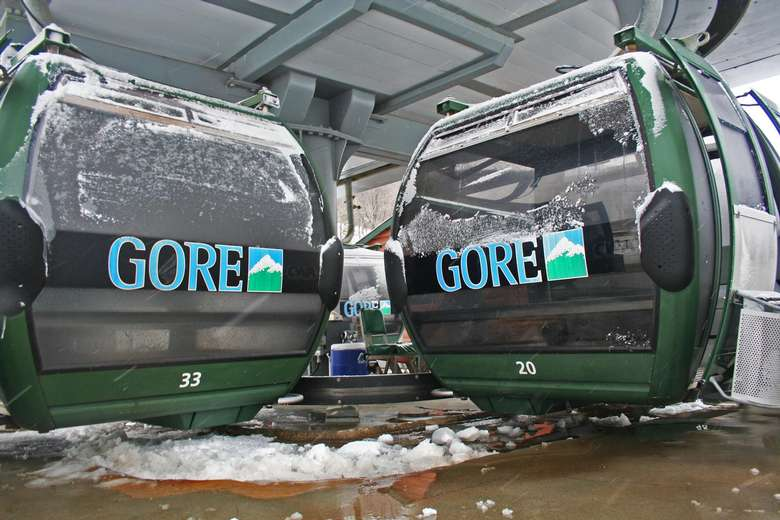 two green gore mountain gondolas