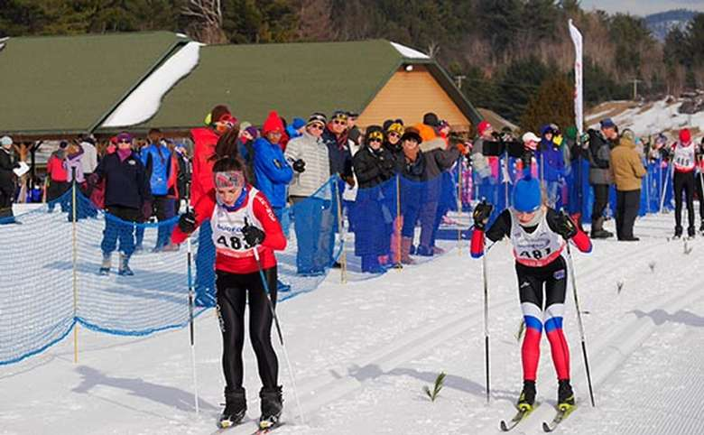 people competing in a nordic ski race