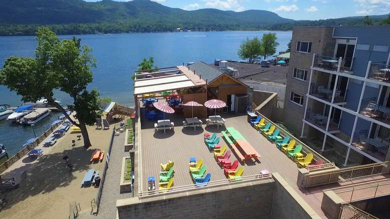 aerial view of a rooftop cabana bar