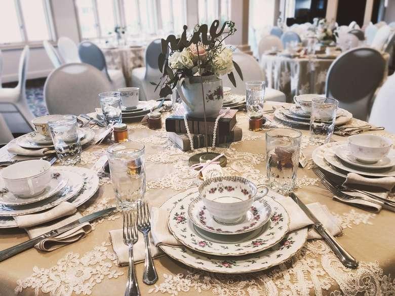 dinnerware on a table