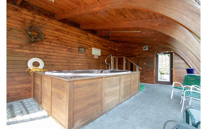 wooden sauna and jacuzzi